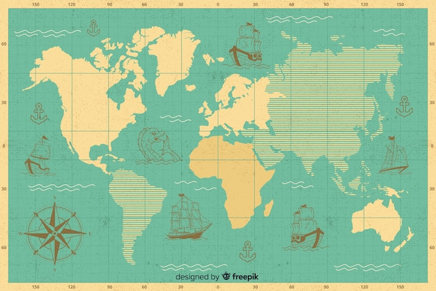 Mappa globale con design dei continenti