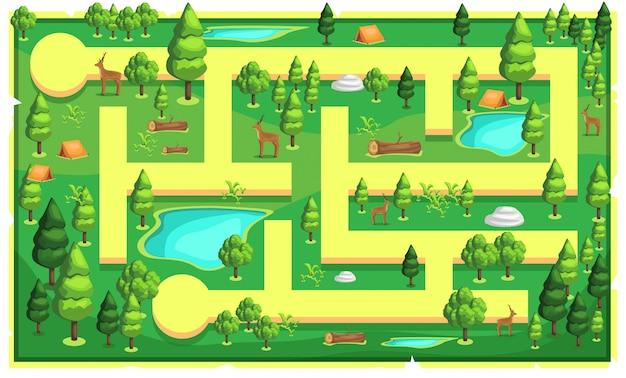Mappa green mountain nature con percorso e grandi alberi, tende da campeggio, legno, cervi e lago d'acqua per l'illustrazione di platform game 2d
