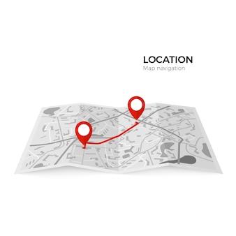 Mappa in bianco e nero con indicatori rossi del punto di partenza del percorso e finale. perno di colore rosso del navigatore gps che controlla rotta da punto a punto. illustrazione su sfondo bianco