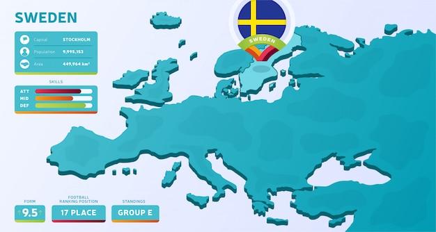Mappa isometrica dell'europa con il paese evidenziato svezia