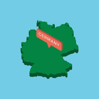 Mappa isometrica verde del paese germania con puntatore su sfondo blu.