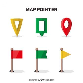 Mappa localizzatori pacchetto in stili diversi