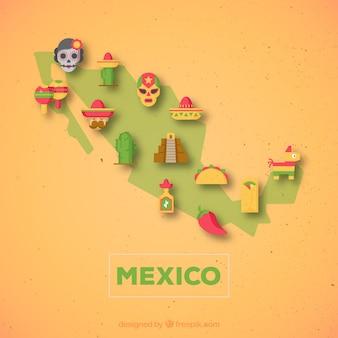 Mappa messicana con elementi culturali