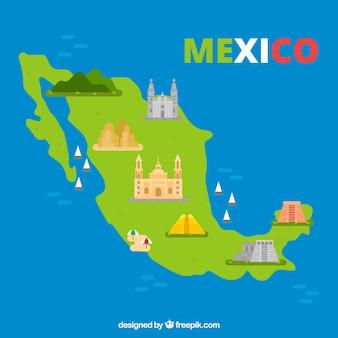 Mappa messicana con elementi di sfondo