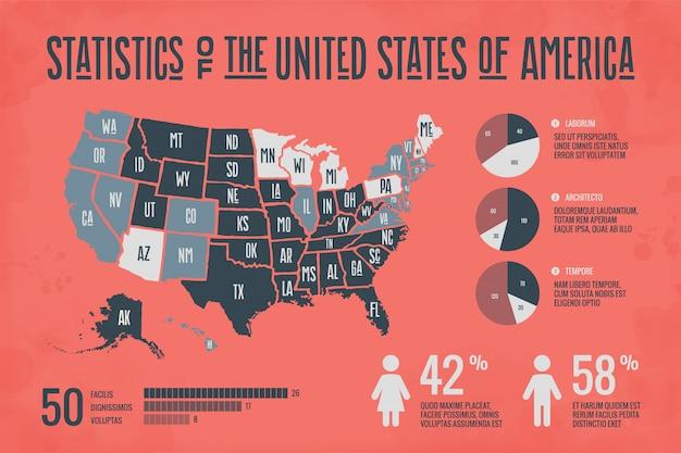 Mappa moderna degli stati uniti con elementi di infografica
