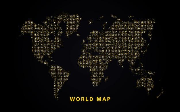 Mappa mondiale dei brillantini dorati