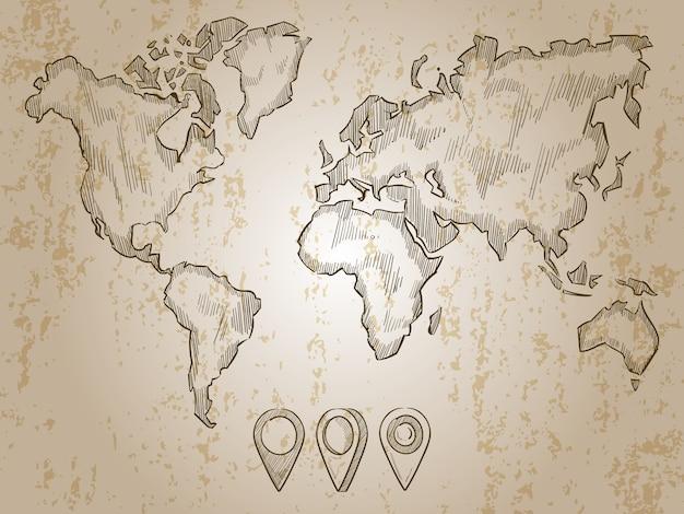 Mappa mondo disegnato a mano dell'annata e perni di doodle