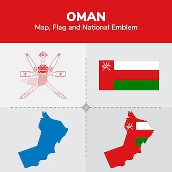 Mappa oman, bandiera e emblema nazionale