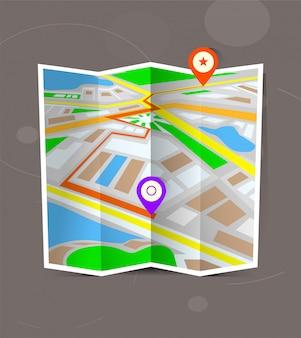 Mappa piegata città astratta con indicatori di posizione.
