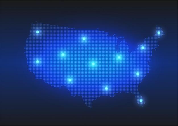 Mappa punteggiata degli stati uniti in stile digitale