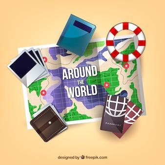 Mappa realistica con elementi di viaggio