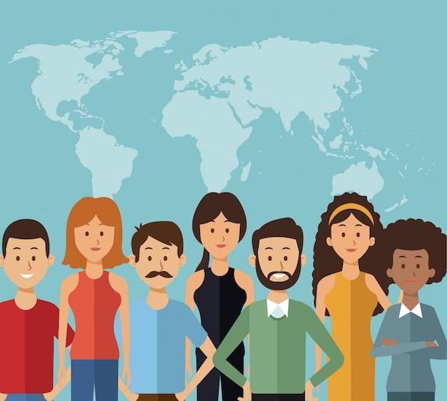 Mappa silhouette del mondo con persone di gruppo metà corpo