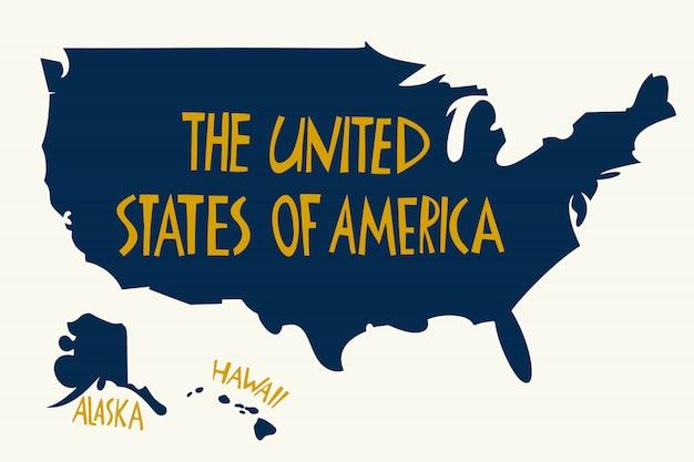 Mappa stilizzata disegnata a mano degli stati uniti d'america.