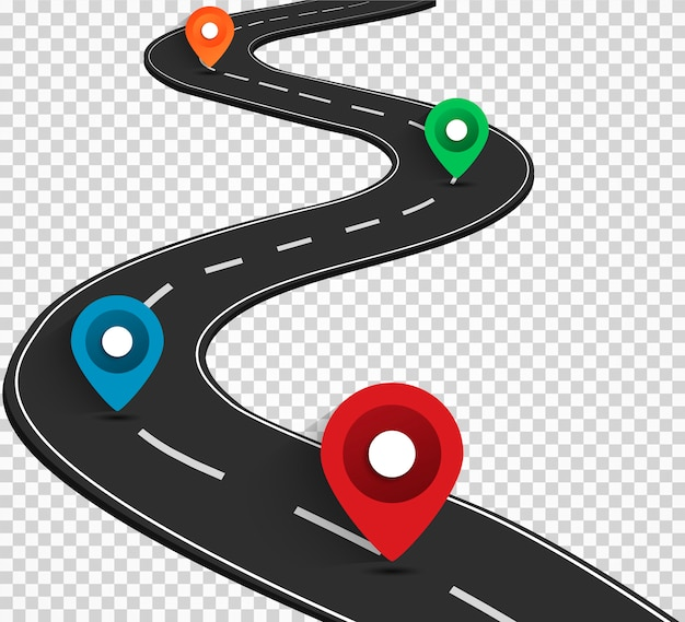 Mappa stradale con icone di navigazione