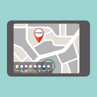 Mappa stradale con puntatore colorato a pin per aree pubbliche importanti