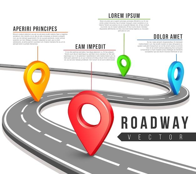 Mappa stradale stradale per progettazione di infographics di affari di vettore.