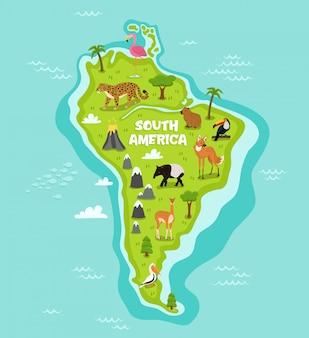 Mappa sudamericana con animali della fauna selvatica