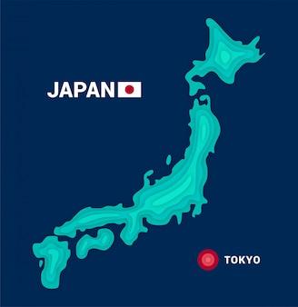Mappa topografica del giappone. concetto di cartografia 3d