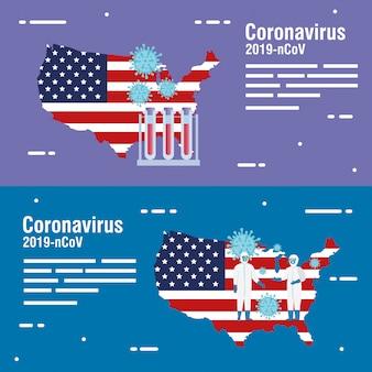 Mappa usa e bandiera con test di particelle e provette covid19