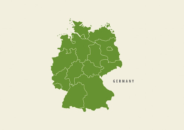 Mappa verde del dettaglio della mappa della germania isolata su fondo bianco, concetto dell'ambiente
