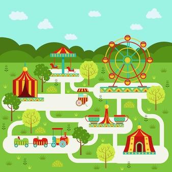Mappa vettoriale del parco divertimenti con attrazioni