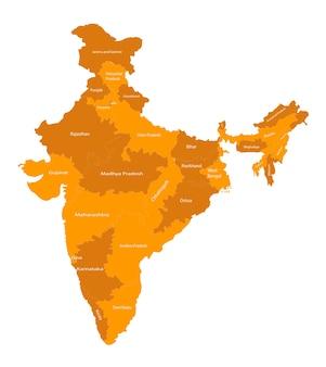 Mappa vettoriale di tutti gli stati dell'india