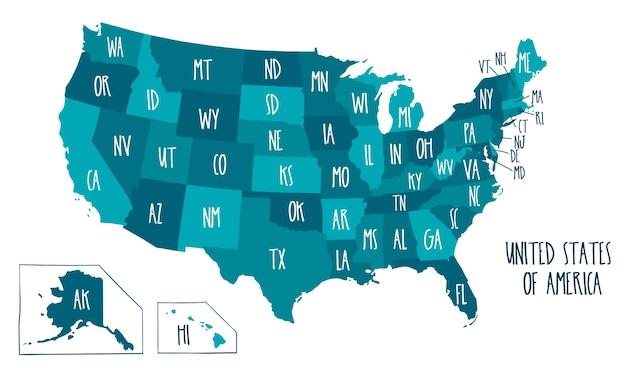 Mappa vettoriale disegnato a mano degli stati uniti d'america.