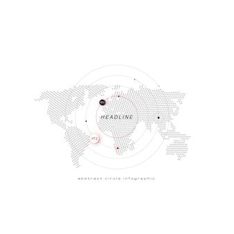 Mappa wold con cerchi, punti, titolo