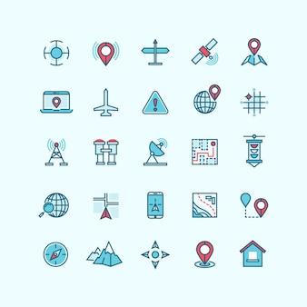 Mappe e posizione icone vettoriali piatte