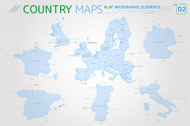 Mappe europa, regno unito, francia, spagna, portogallo, italia e germania