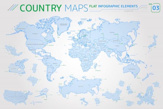 Mappe vettoriali di america, asia, africa, europa, australia, messico, giappone, canada, stati uniti, russia, cina