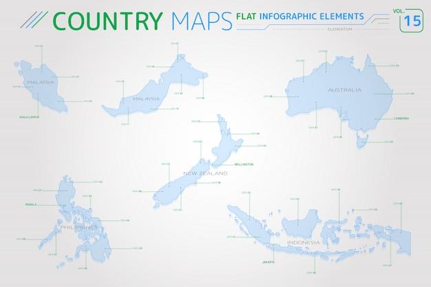 Mappe vettoriali di malesia, indonesia, australia, nuova zelanda e filippine