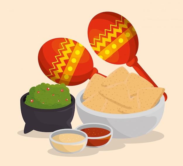 Maracas con cibo messicano al giorno dell'evento morto
