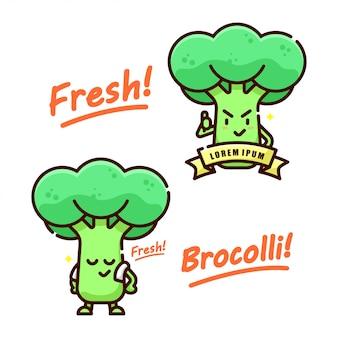 Marchio con logo della mascotte di broccoli sveglio