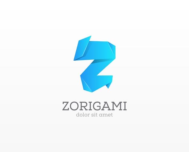 Marchio della lettera z icona di segno creativo leter mestiere di carta. icona origami