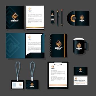 Marchio mockup identità aziendale, forniture di cancelleria mockup colore nero illustrazione vettoriale design