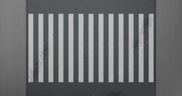 Marciapiede e attraversamento sulla vista superiore della strada dell'automobile