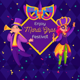 Mardi gras colorati in design piatto