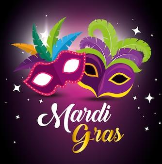 Mardi gras con maschere da festa per il festival