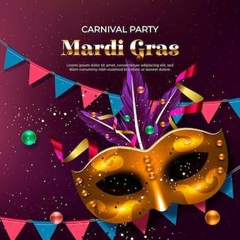 Mardi gras design realistico con maschere e ghirlande dorate