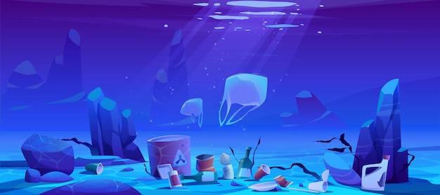 Mare di inquinamento da immondizia di plastica, immondizia sott'acqua