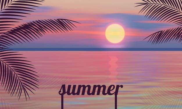 Mare rosa della palma delle illustrazioni di vettore di tramonto di estate