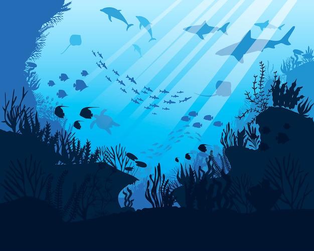 Mare sott'acqua. fondo dell'oceano con alghe. scena marina