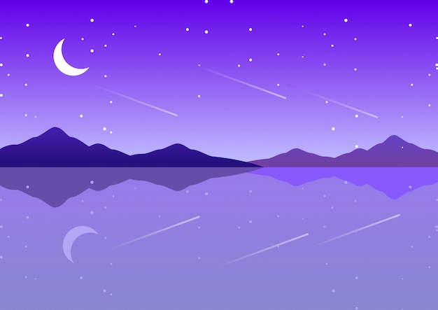 Mare viola con luna e notte stellata paesaggio di fantasia