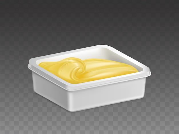 Margarina nel vettore realistico del contenitore di plastica