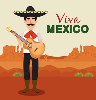 Mariachi con chitarra e cappello per l'evento di celebrazione