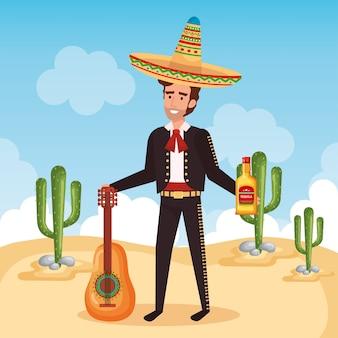 Mariachi messicano con carattere di chitarra