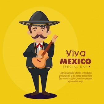 Mariachi uomo che indossa un cappello con tuta e chitarra