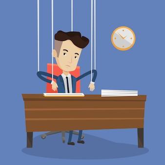 Marionetta dell'uomo d'affari sul funzionamento delle corde.