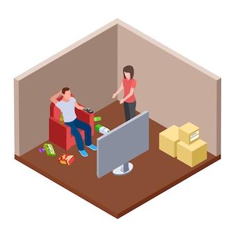 Marito pigro che guarda tv con birra e immondizia, moglie giura - concetto isometrico della famiglia